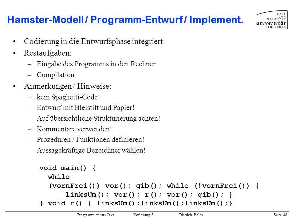 Hamster-Modell / Programm-Entwurf / Implement.