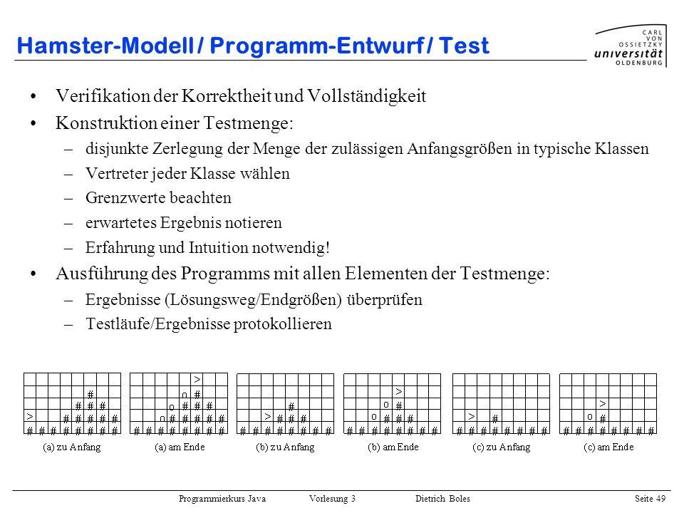 Hamster-Modell / Programm-Entwurf / Test