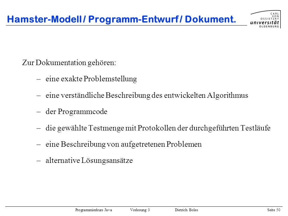 Hamster-Modell / Programm-Entwurf / Dokument.