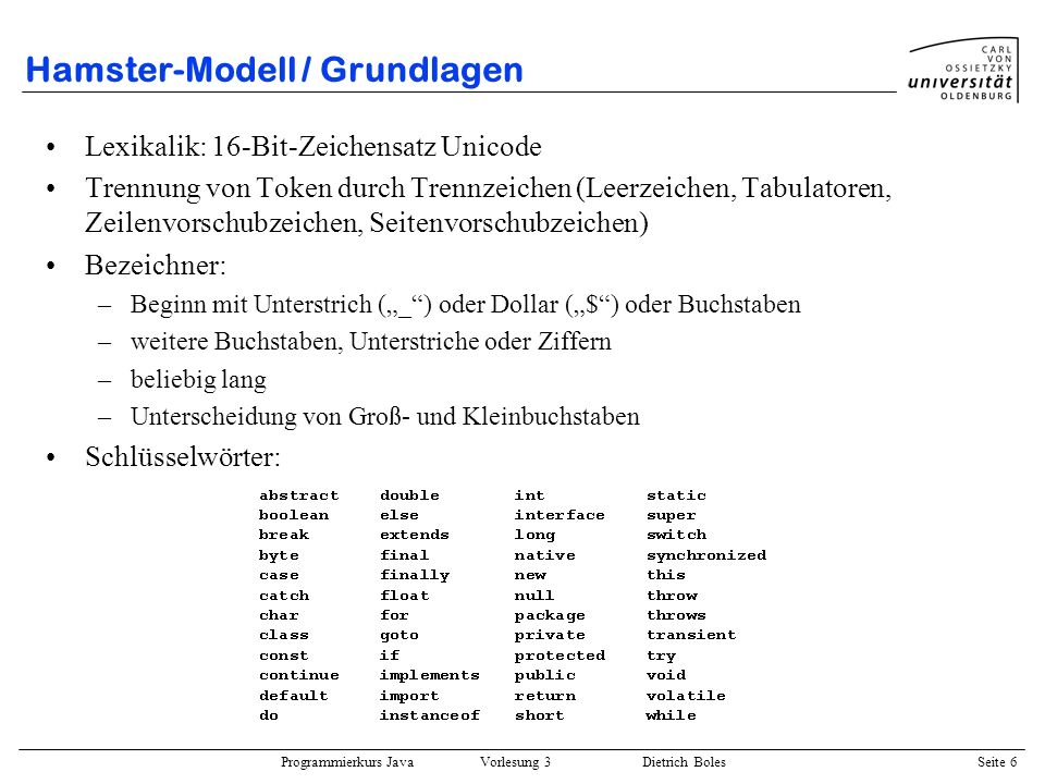 Hamster-Modell / Grundlagen