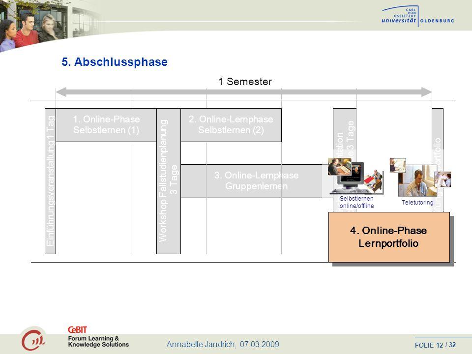 5. Abschlussphase 1 Semester 4. Online-Phase Lernportfolio