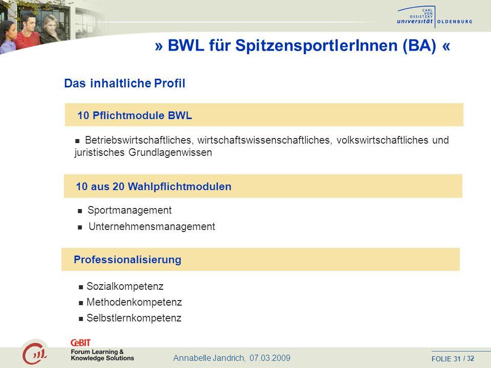 » BWL für SpitzensportlerInnen (BA) «