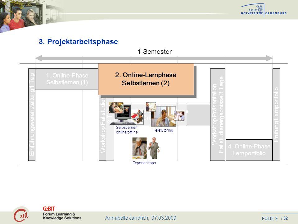 3. Projektarbeitsphase 1 Semester 2. Online-Lernphase Selbstlernen (2)