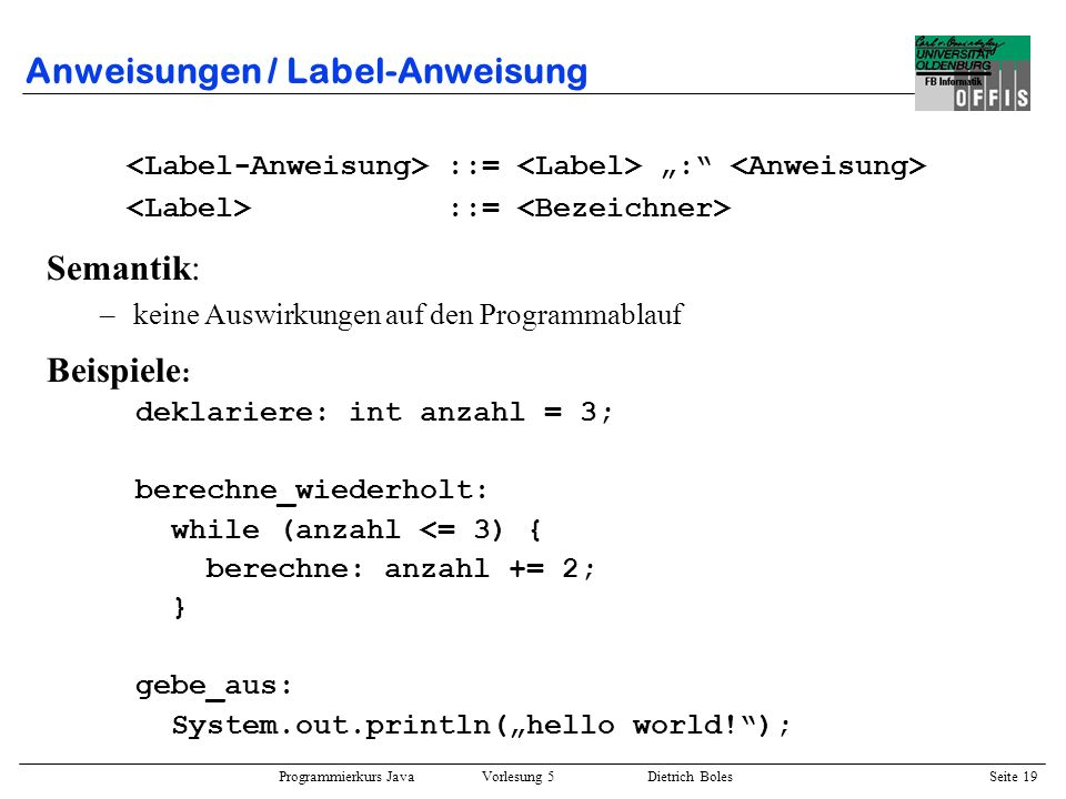 Anweisungen / Label-Anweisung