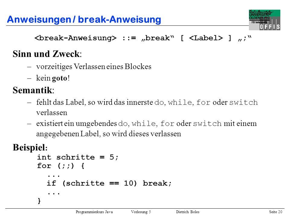 Anweisungen / break-Anweisung