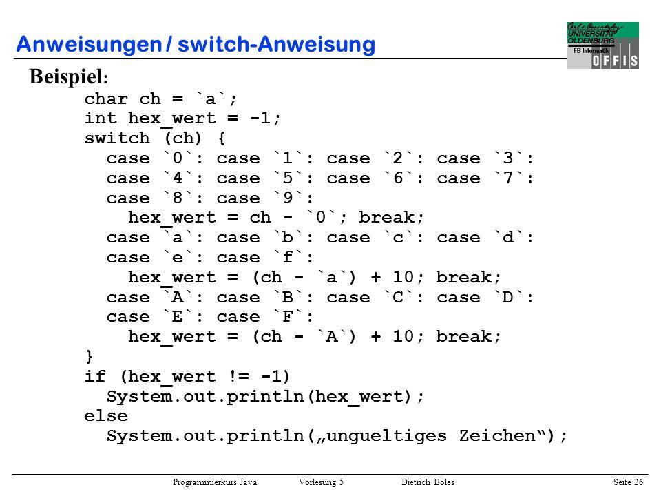Anweisungen / switch-Anweisung