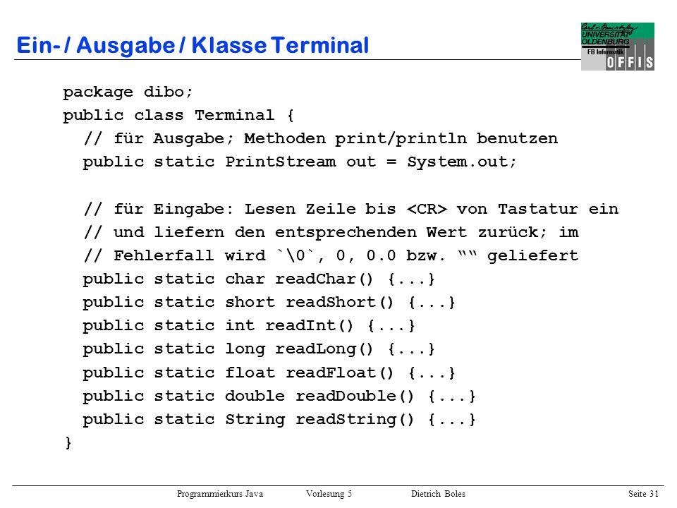 Ein- / Ausgabe / Klasse Terminal