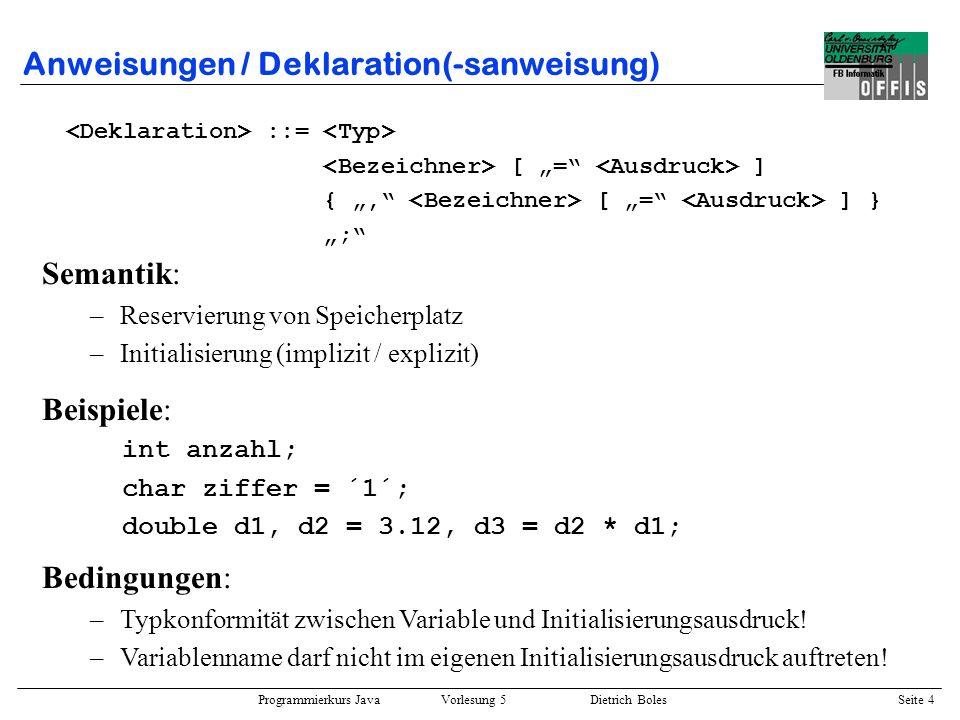 Anweisungen / Deklaration(-sanweisung)