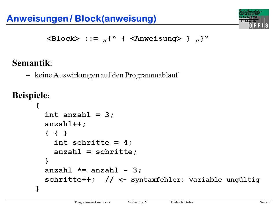 Anweisungen / Block(anweisung)
