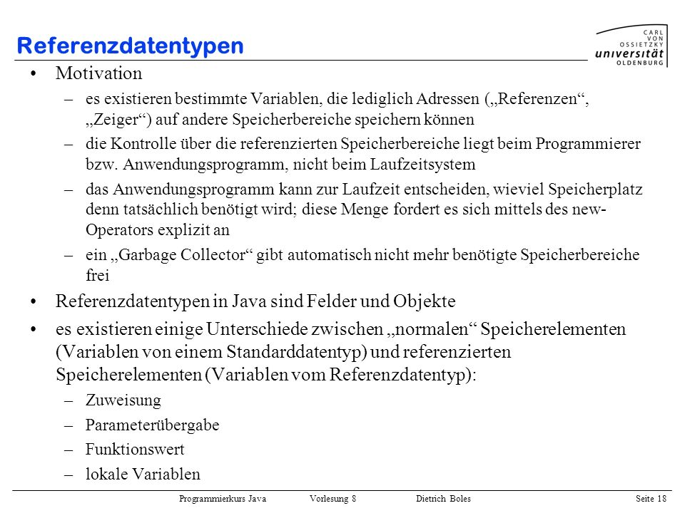 Referenzdatentypen Motivation