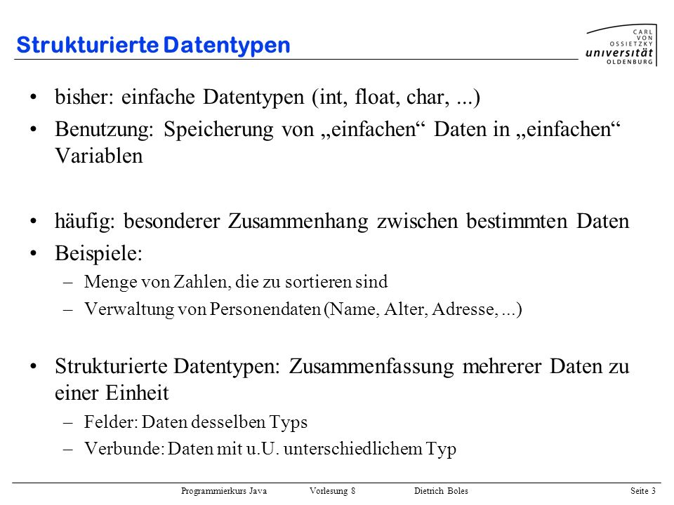Strukturierte Datentypen