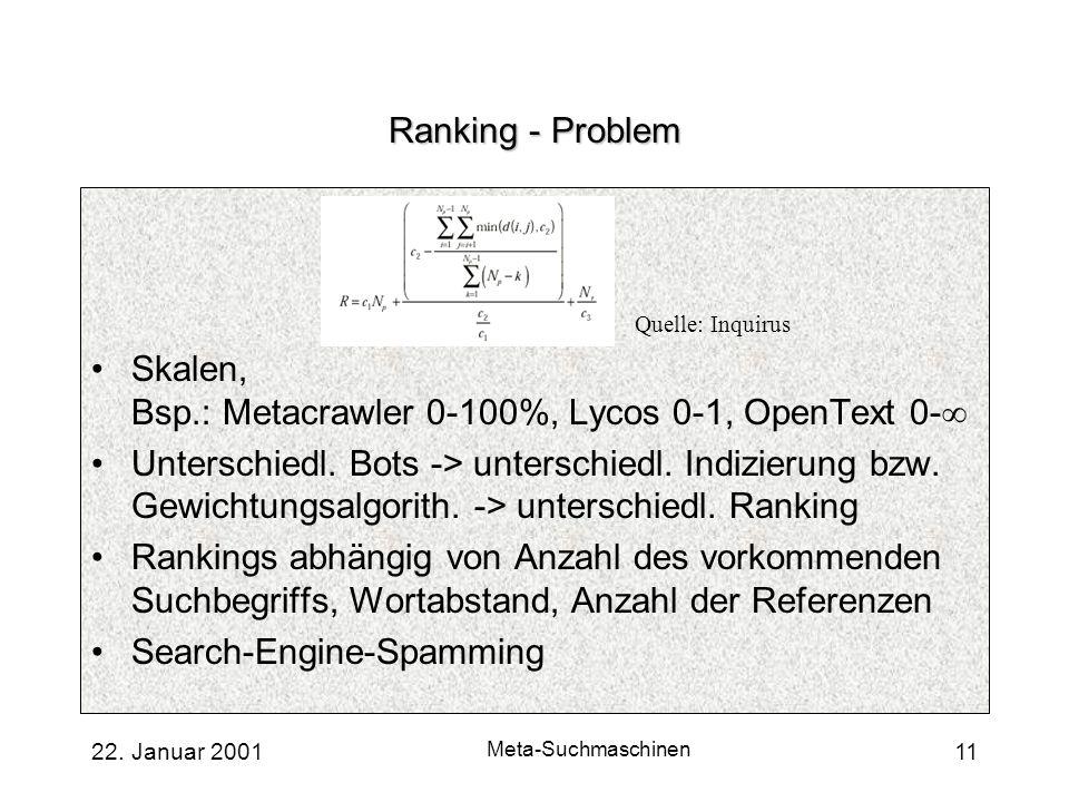 Skalen, Bsp.: Metacrawler 0-100%, Lycos 0-1, OpenText 0-