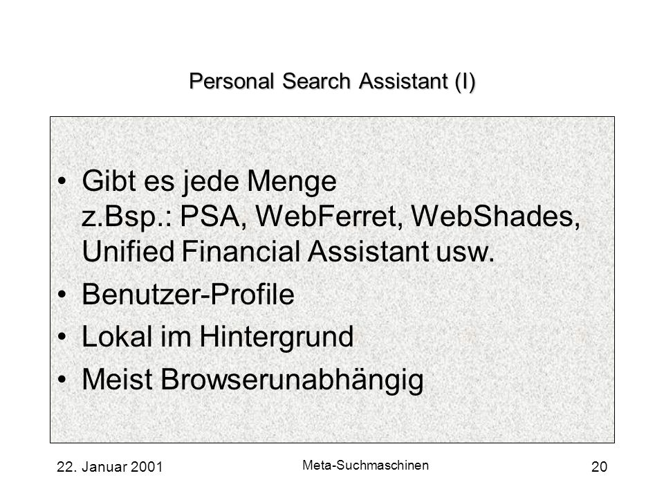 Personal Search Assistant (I)