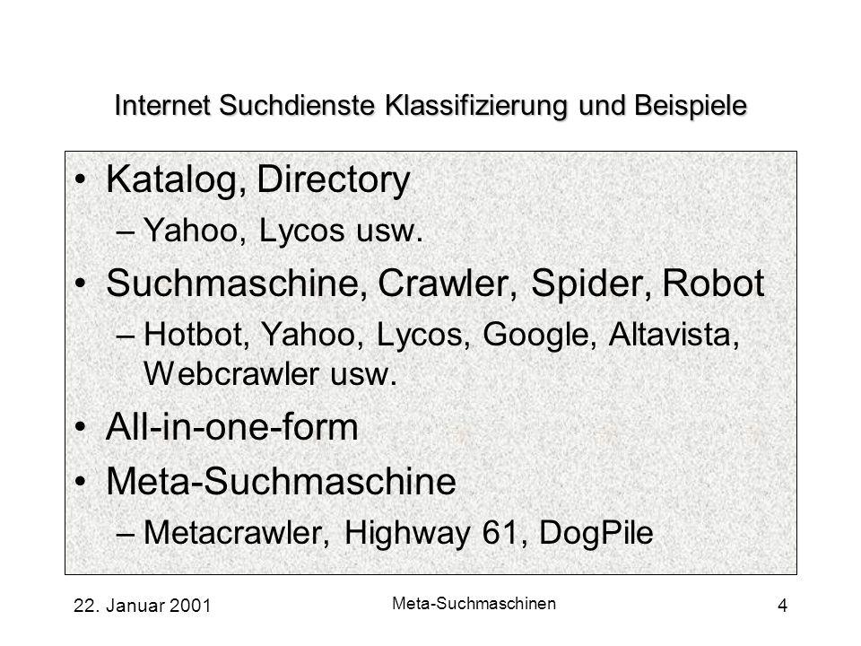 Internet Suchdienste Klassifizierung und Beispiele