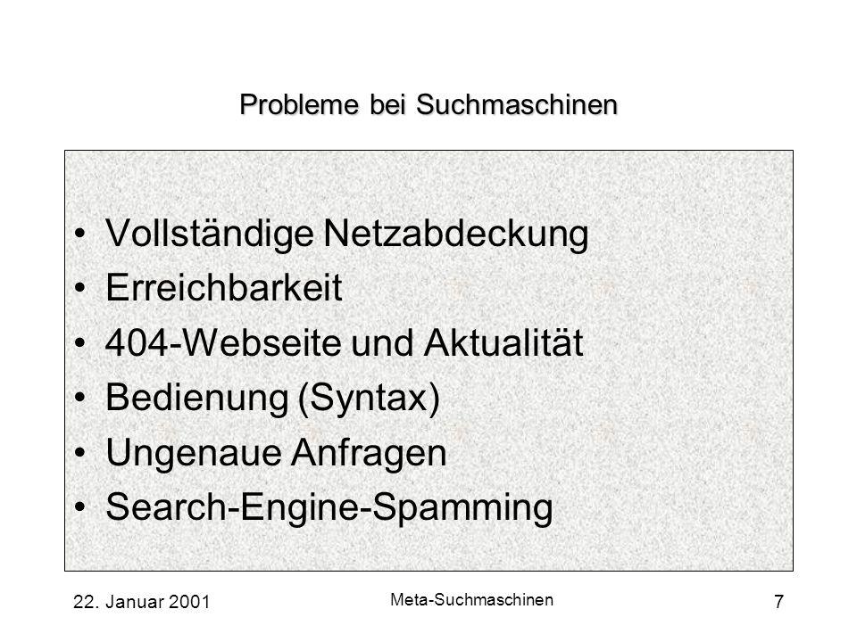 Probleme bei Suchmaschinen