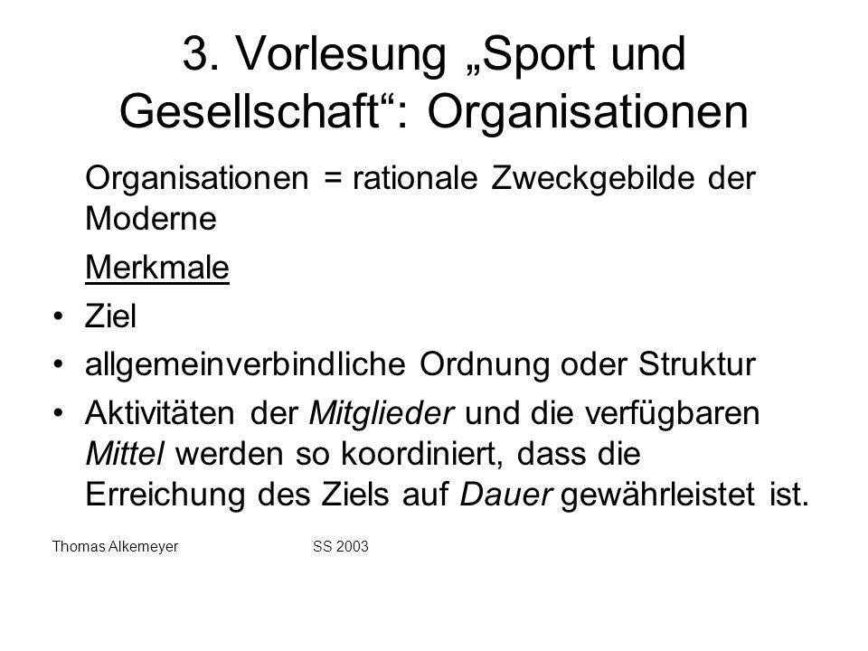 """3. Vorlesung """"Sport und Gesellschaft : Organisationen"""