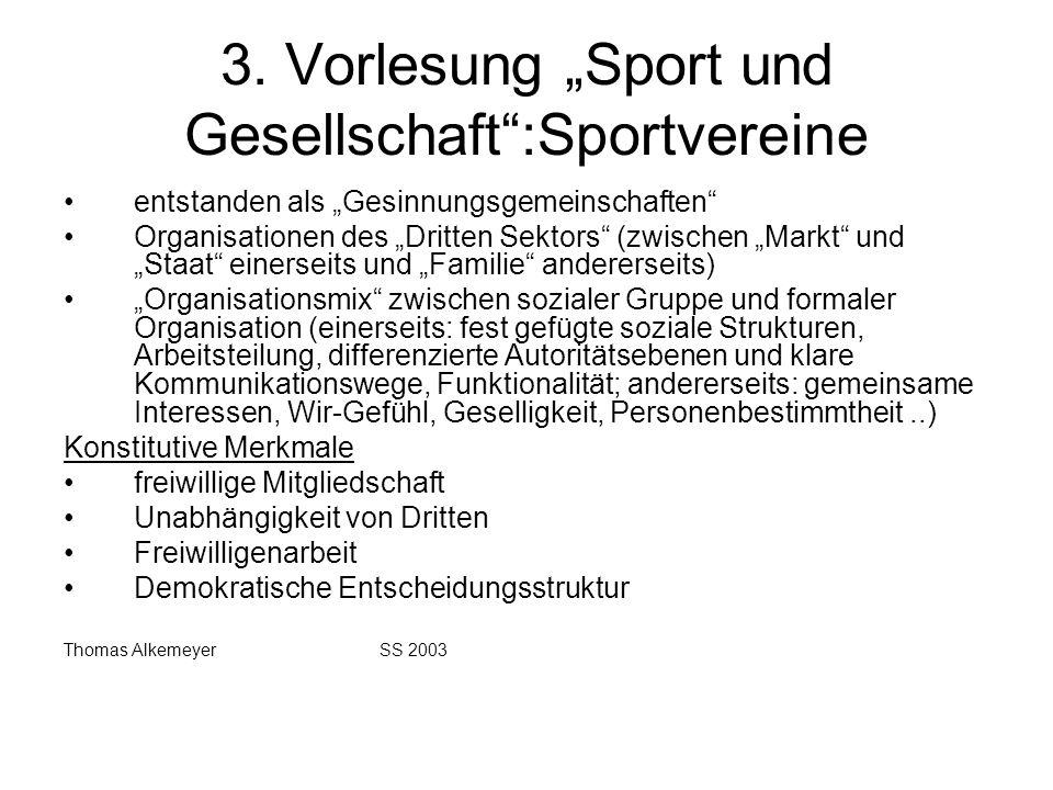 """3. Vorlesung """"Sport und Gesellschaft :Sportvereine"""