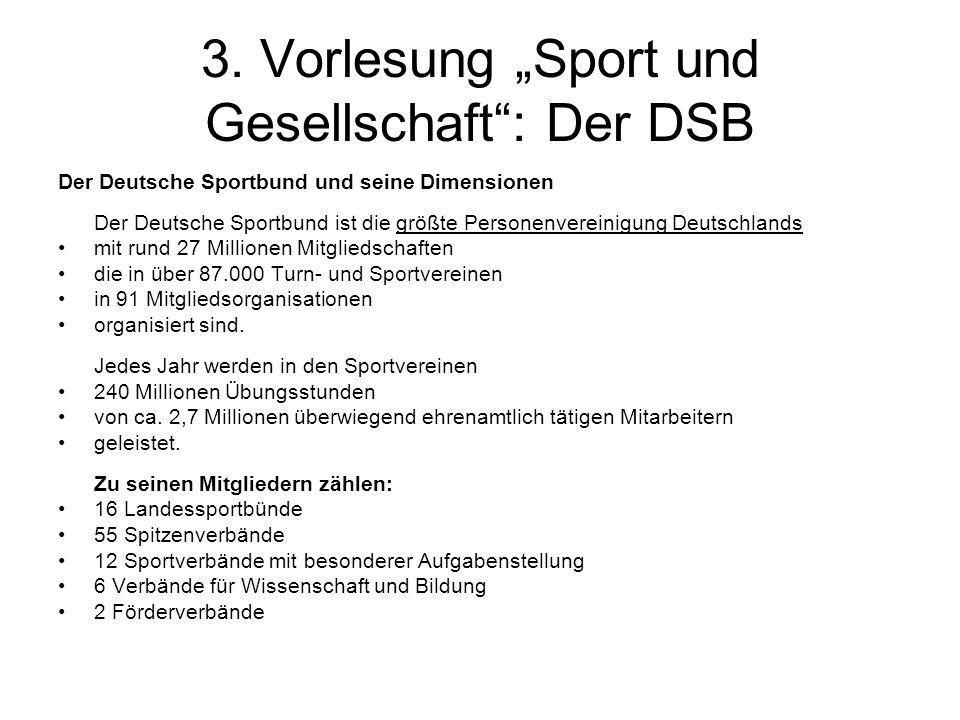 """3. Vorlesung """"Sport und Gesellschaft : Der DSB"""