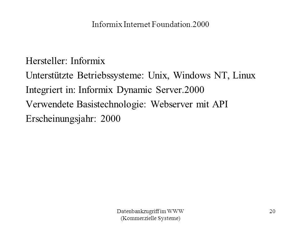 Informix Internet Foundation.2000