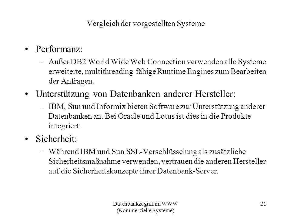 Vergleich der vorgestellten Systeme