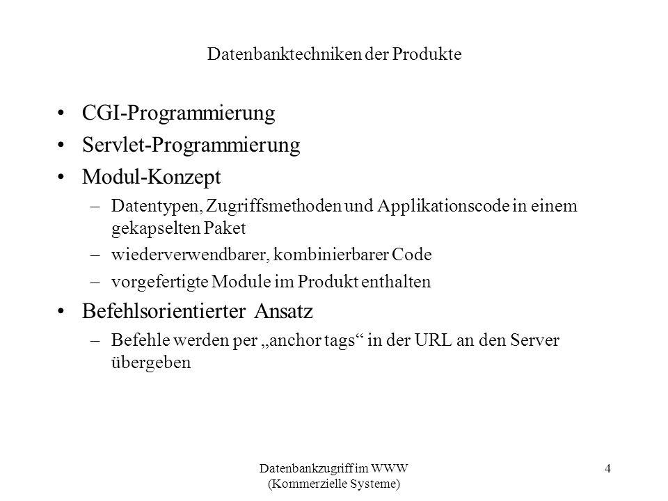 Datenbanktechniken der Produkte