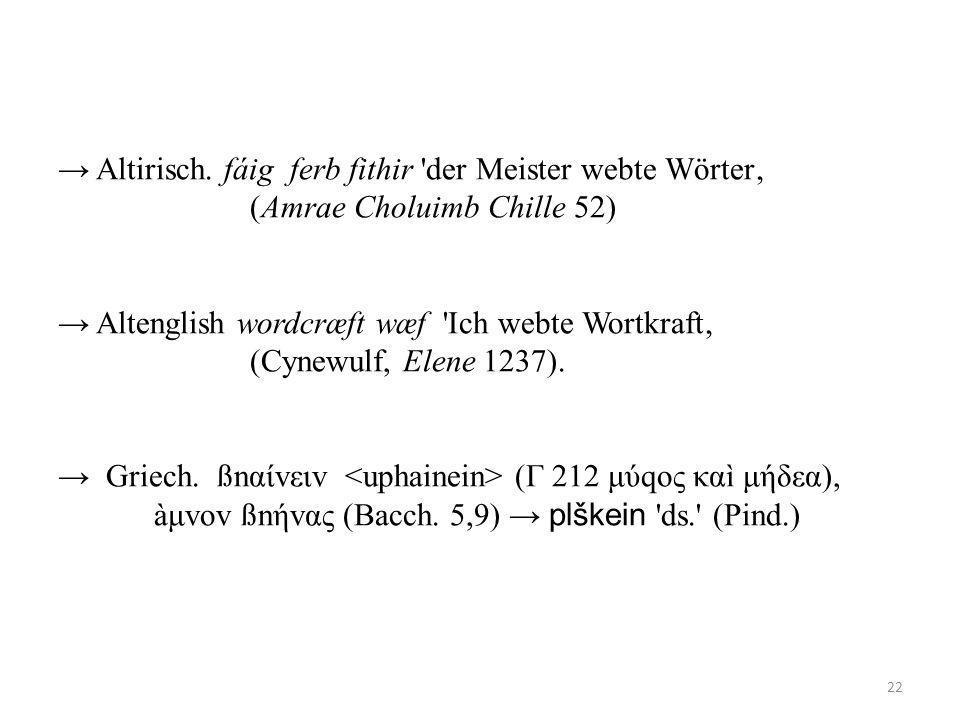 → Altirisch. fáig ferb fithir der Meister webte Wörter'