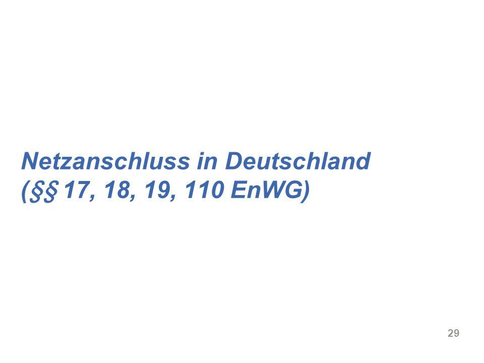 Netzanschluss in Deutschland (§§ 17, 18, 19, 110 EnWG)