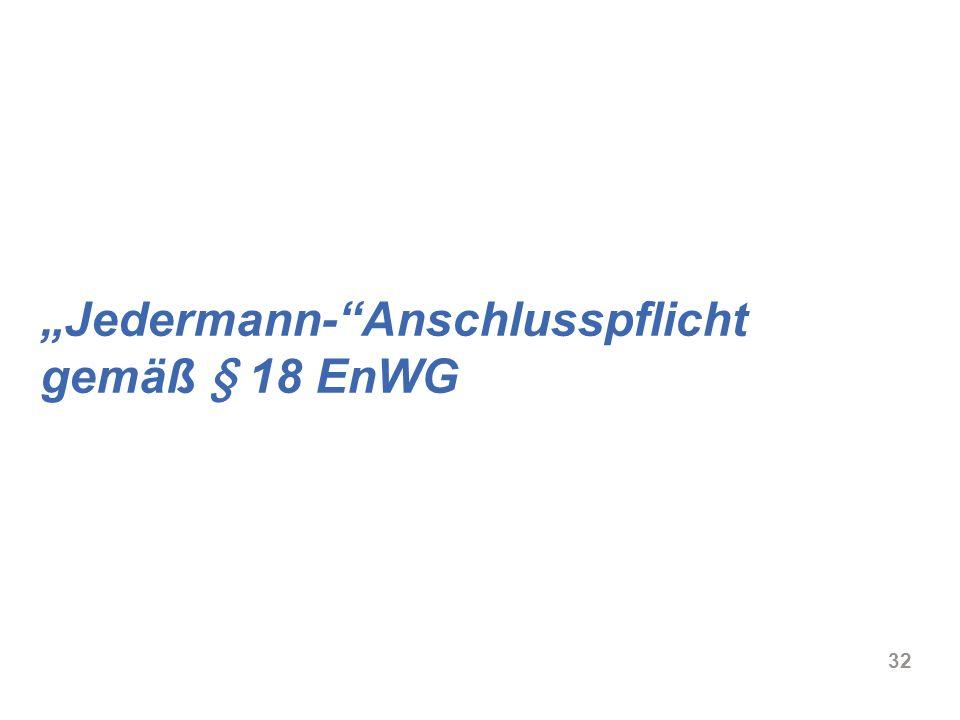 """""""Jedermann- Anschlusspflicht gemäß § 18 EnWG"""