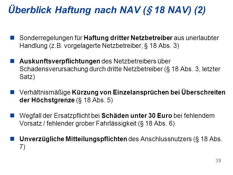 Überblick Haftung nach NAV (§ 18 NAV) (2)
