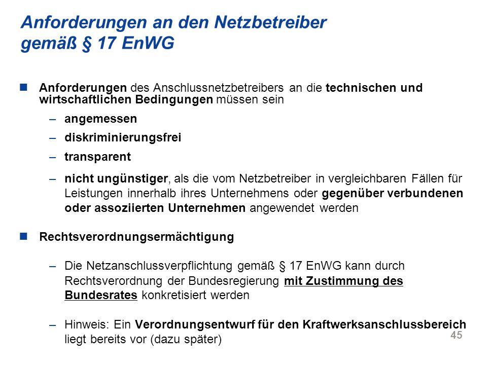 Anforderungen an den Netzbetreiber gemäß § 17 EnWG