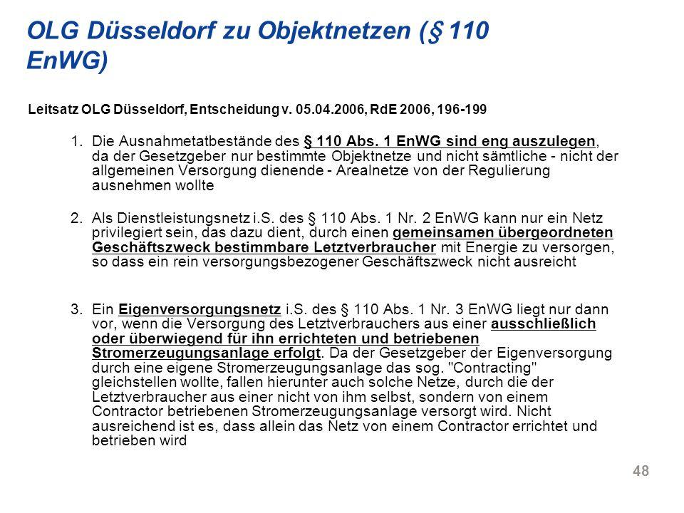 OLG Düsseldorf zu Objektnetzen (§ 110 EnWG)