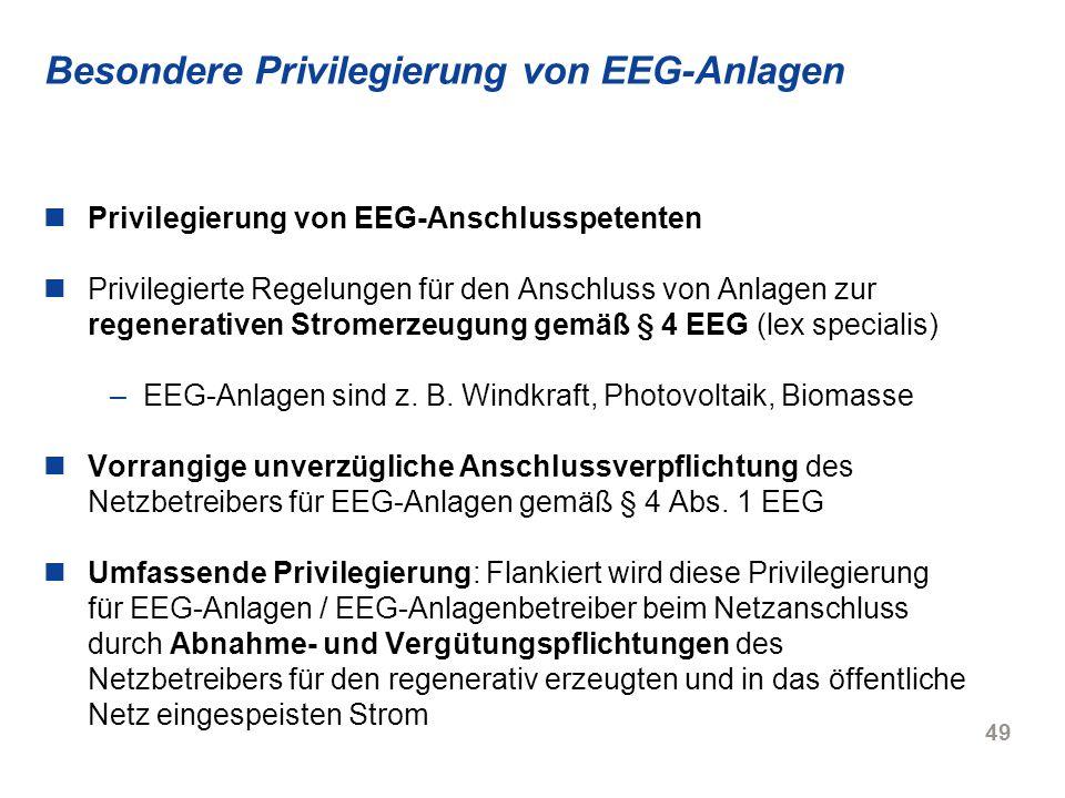 Besondere Privilegierung von EEG-Anlagen