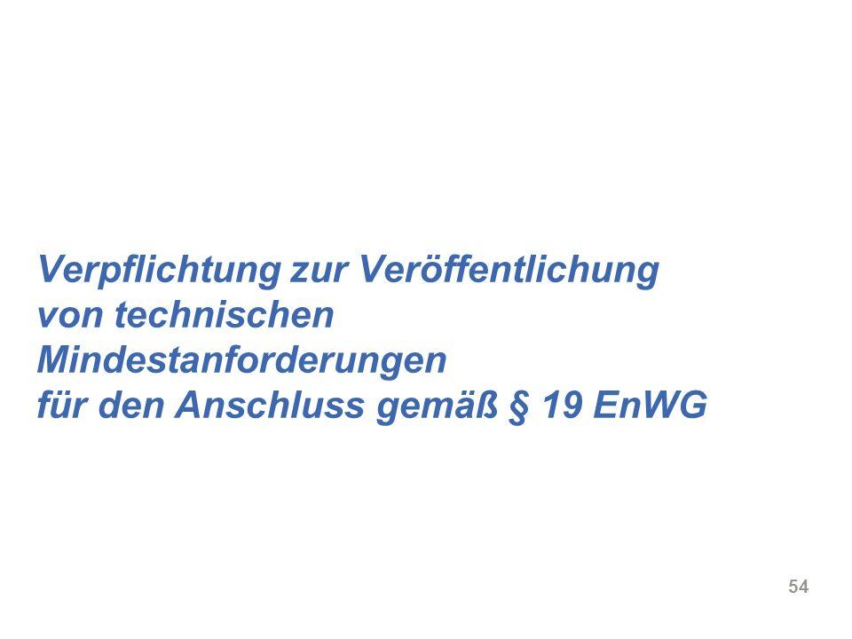 Verpflichtung zur Veröffentlichung von technischen Mindestanforderungen für den Anschluss gemäß § 19 EnWG
