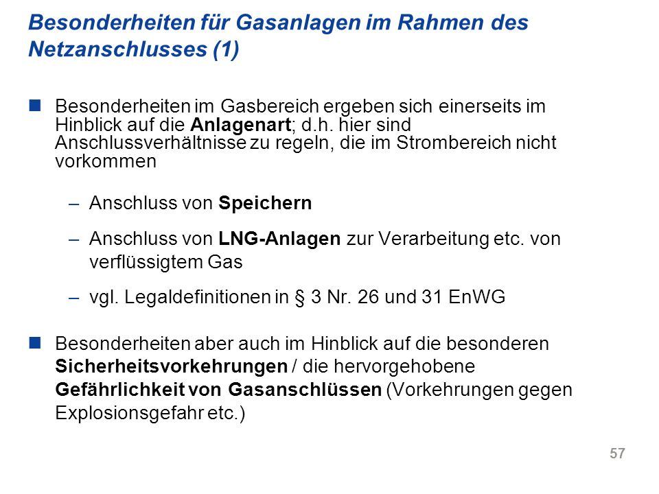 Besonderheiten für Gasanlagen im Rahmen des Netzanschlusses (1)