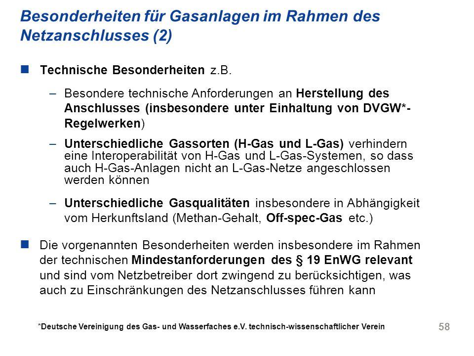 Besonderheiten für Gasanlagen im Rahmen des Netzanschlusses (2)