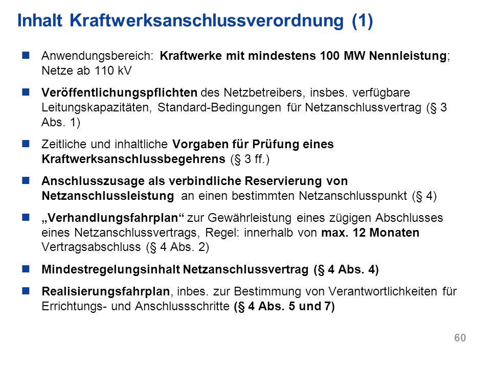 Inhalt Kraftwerksanschlussverordnung (1)