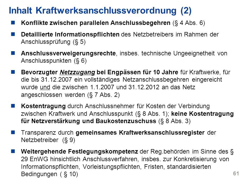 Inhalt Kraftwerksanschlussverordnung (2)