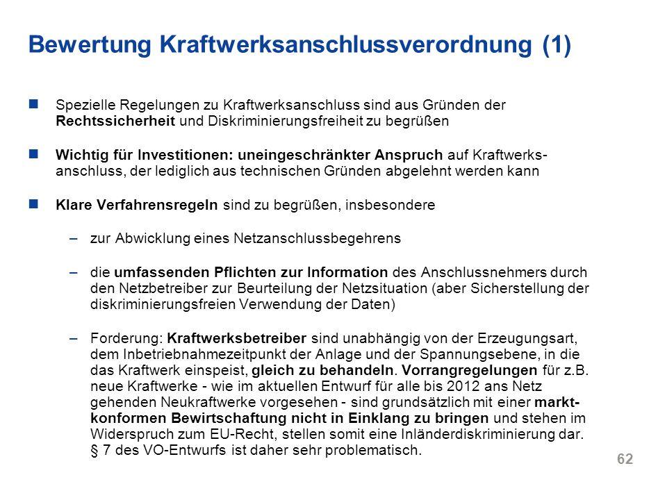 Bewertung Kraftwerksanschlussverordnung (1)