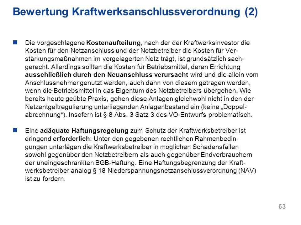 Bewertung Kraftwerksanschlussverordnung (2)