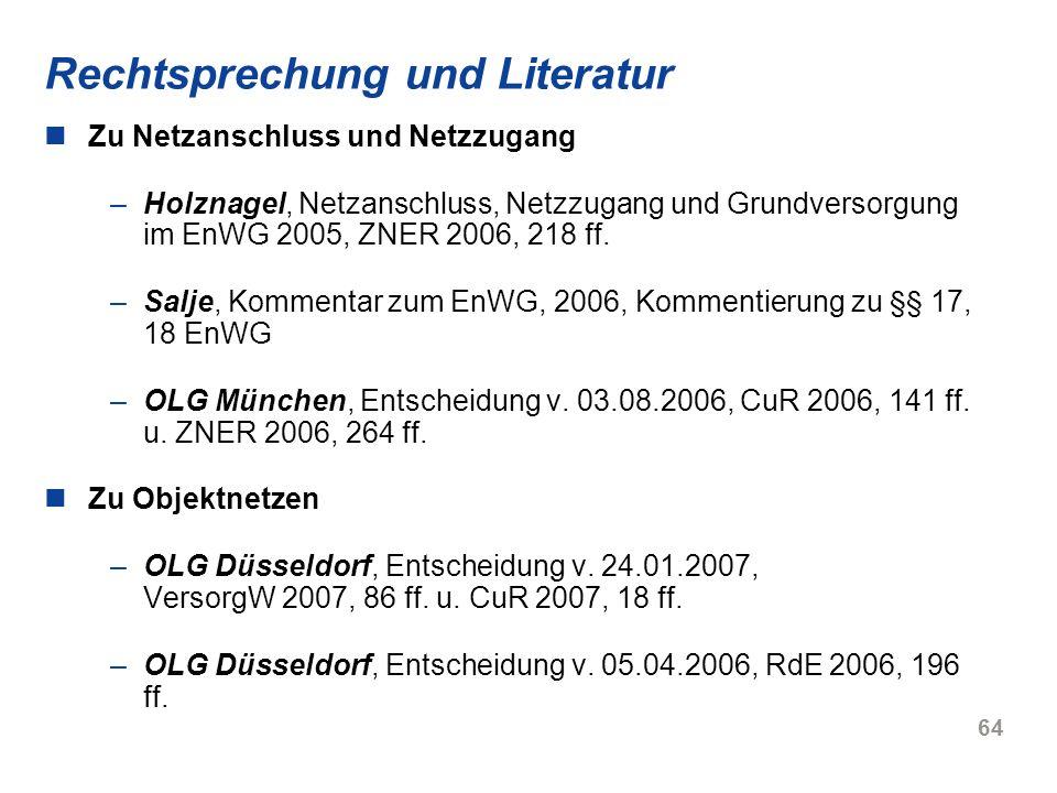 Rechtsprechung und Literatur