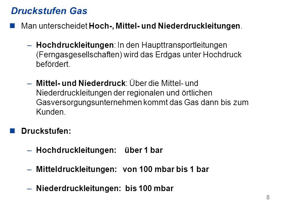 Druckstufen Gas Man unterscheidet Hoch-, Mittel- und Niederdruckleitungen.
