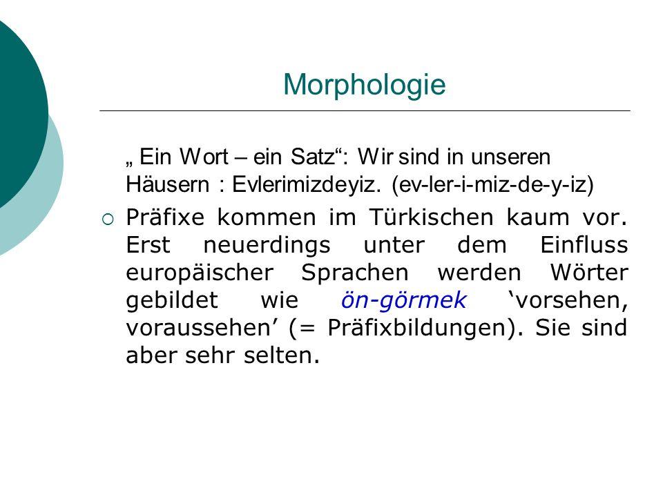 """Morphologie """" Ein Wort – ein Satz : Wir sind in unseren Häusern : Evlerimizdeyiz. (ev-ler-i-miz-de-y-iz)"""