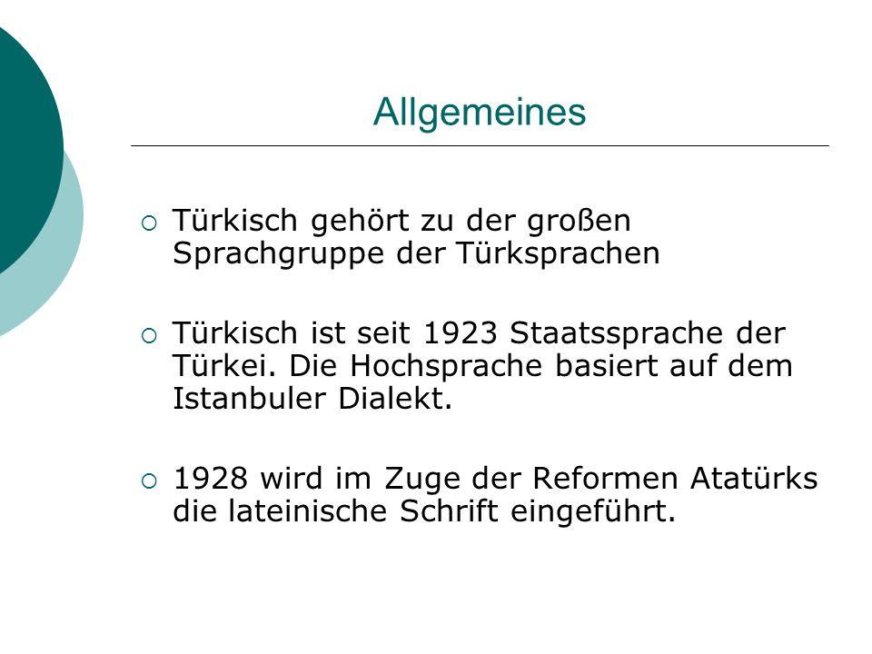 Allgemeines Türkisch gehört zu der großen Sprachgruppe der Türksprachen.