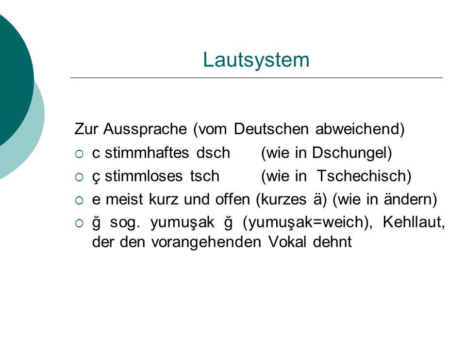 Lautsystem Zur Aussprache (vom Deutschen abweichend)