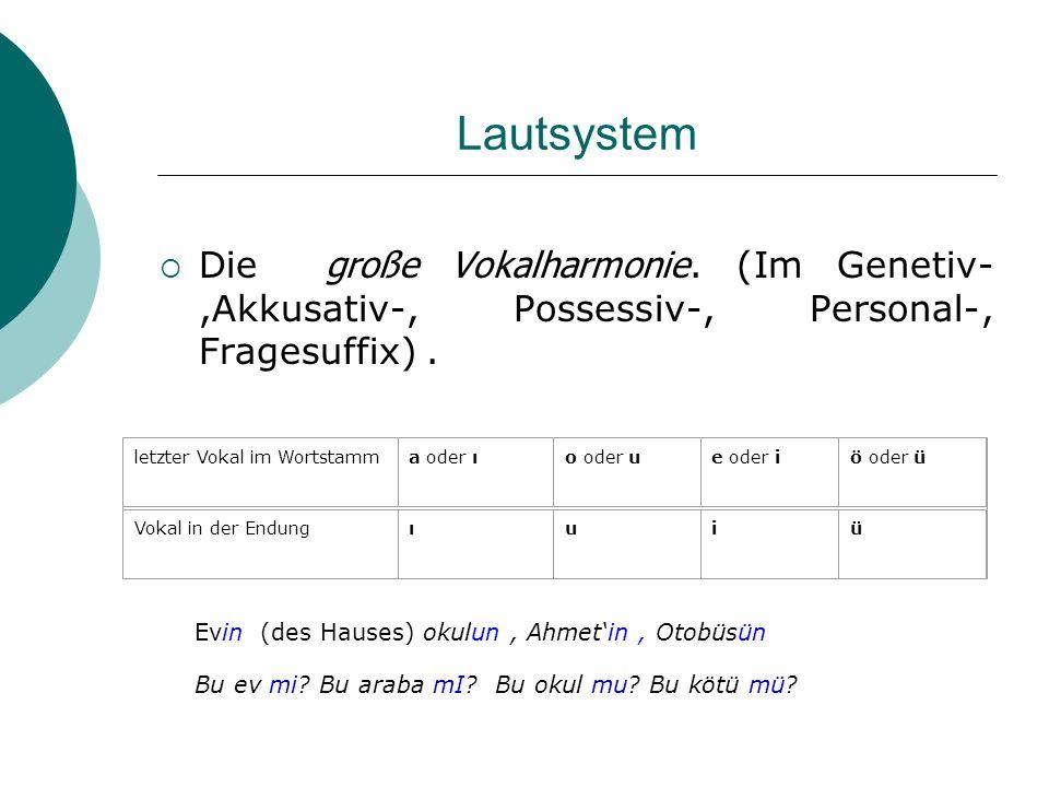 Lautsystem Die große Vokalharmonie. (Im Genetiv-,Akkusativ-, Possessiv-, Personal-, Fragesuffix) .