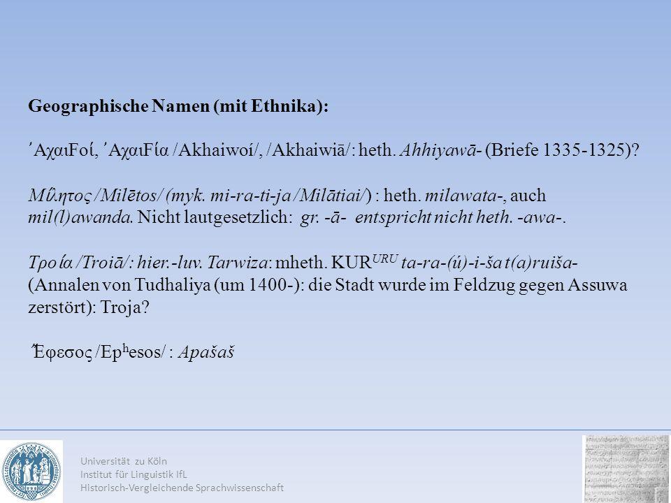 Geographische Namen (mit Ethnika):