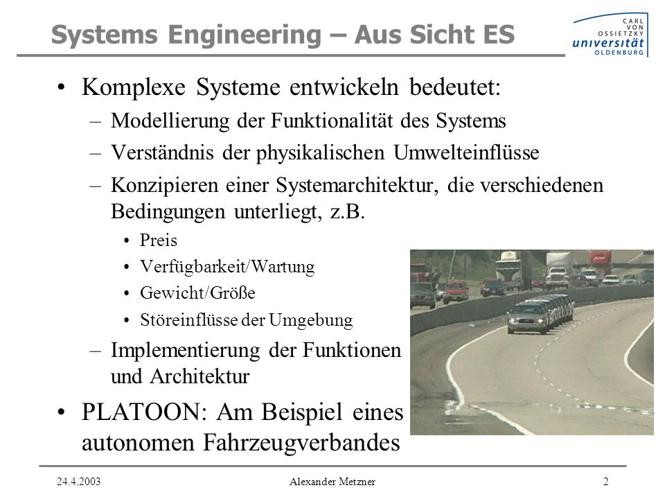 Systems Engineering – Aus Sicht ES