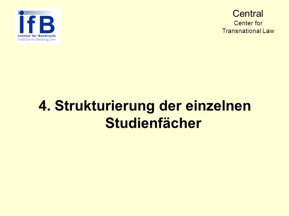 4. Strukturierung der einzelnen Studienfächer