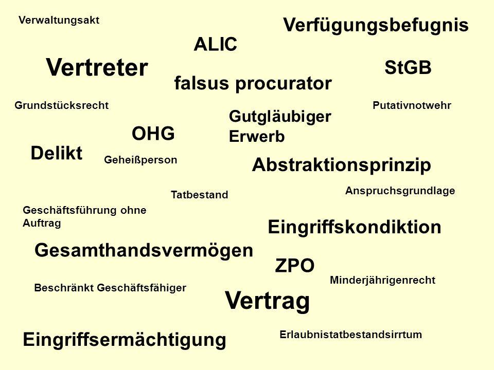 Vertreter Vertrag Verfügungsbefugnis ALIC StGB falsus procurator OHG