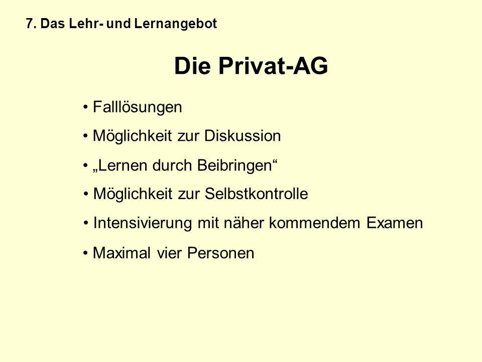 Die Privat-AG Falllösungen Möglichkeit zur Diskussion